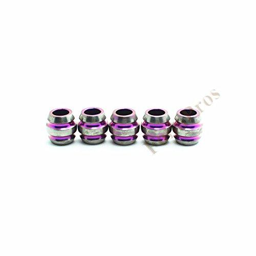 Ti-Edc 5Pcs Titanium Knife Key Jewelry Parachute Cord Bead Pendant Lanyard(Purple)