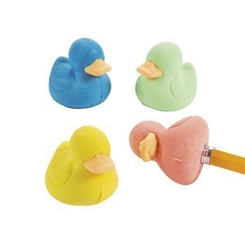 Rubber Ducky Pencil Top Erasers - 12 pcs