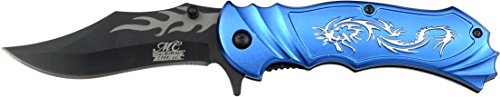 Masters Collection MC-A003BL Fantasy Spring Assist Folding Knife, Black Blade, Blue Handle, 4.5-Inch Closed
