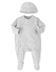 Cotton Rich Spotted Sleepsuit with Hat