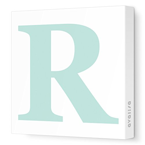 "Avalisa Stretched Canvas Upper Letter R Nursery Wall Art, Aqua, 12"" x 12"" - 1"