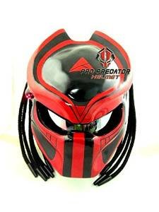 Custom Predator Motorcycle DOT ECE Helmet Red Black SY02 (XL)
