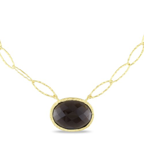 Yellow Gold Plated Silver 28ct TGW Smokey Quartz Necklace (22in)