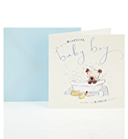 Bear & Bird Baby Boy Greetings Card