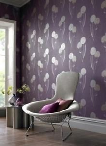 Graham and Brown Essence Alium Wallpaper - Damson by New A-Brend