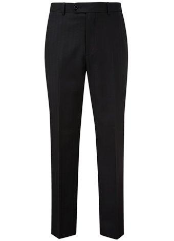 Austin Reed Regular Fit Black Herringbone Trousers SHORT MENS 34