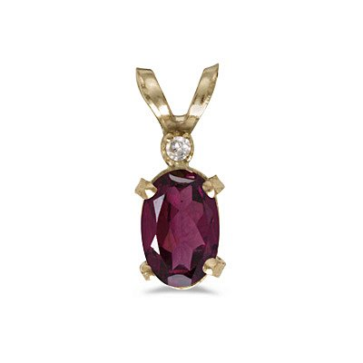 14k Yellow Gold Oval Rhodolite Garnet And Diamond Filagree Pendant With 18 Inch Rope Chain