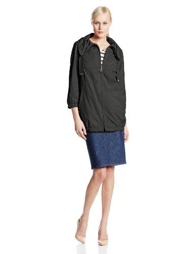T Tahari Women's Azalea Memory Fabric Zip Front Anorak Jacket, Black, X-Large