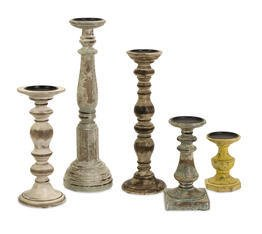 IMAX Kanan Wood Candleholders In Distressed Finishes , Set of 5