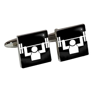 Athletic Event Cufflinks with Weight Lifting design
