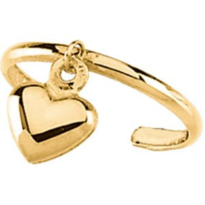 14k Yellow Gold Toe Ring With Heart