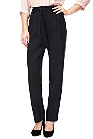 Flat Front Pleated Straight Leg Trousers