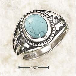 Sterling Silver Oval Turquoise With Wide Aztec Design Ring - Size 9.0