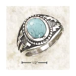 Sterling Silver Oval Turquoise With Wide Aztec Design Ring - Size 13.0