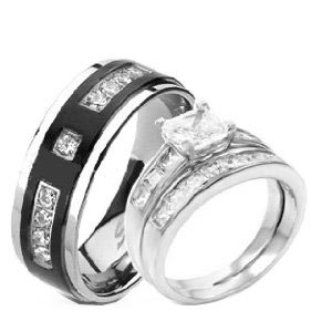 3 Pieces His & Hers, 925 Sterling Silver Rhodium Plated & Titanium Matching Engagement Wedding Bridal Ring Set. AVAILABLE SIZES men's 7,8,9,10,11,12; women's set: 5,6,7,8,9,10. CONTACT US BY EMAIL THROUGH AMAZON WITH SIZES AFTER PURCHASE!