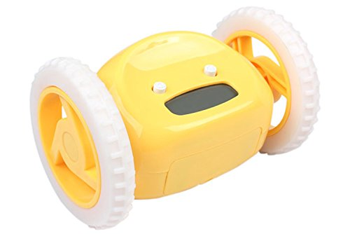 Pashion(TM) Clocky Alarm Clock,Creative Design Runaway Clocky LCD Display Running Clock Alarm With Moving Wheels (Yellow)