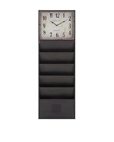 Benton Clock, Black/Brown