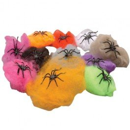 Neon Webs With Spiders (1 Dozen) - Bulk
