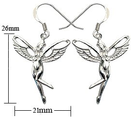 Silver earrings - Cut out tinker bell fairy design - Beautifully designed and hand polished to a very high jewellery standard. delicately packed in a lovely velvet pouch. You can buy the matching pendant also: see menu below