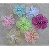 35pc Assorted Color Beaded Organza Flowers Embellishments A82 [Office Product]