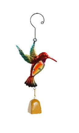 "Colorful Metal Hummingbird Wind Chime, 12"" (Yellow Bell)"