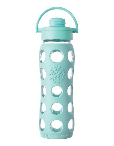 Lifefactory Glass Beverage Bottle with Flip Top Cap