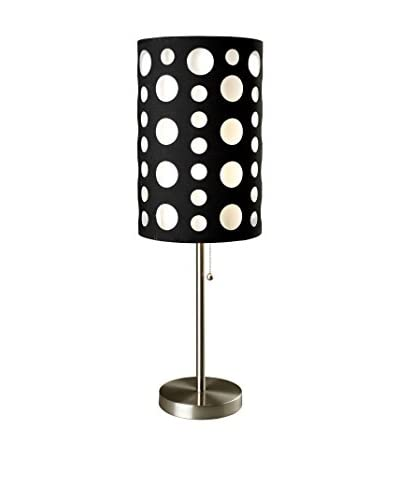 ORE International Modern Retro Table Lamp, Black/White