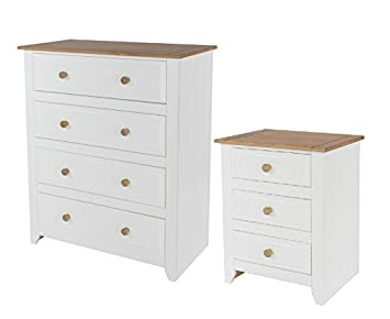 4 Drawer Chest & 3 Drawer Bedside Bedroom Furniture White & Solid Pine Tops