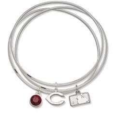 Cincinnati Reds Bangle Bracelet Set W/ Red Crystal Size: 7