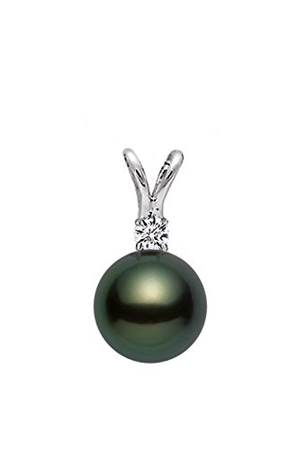 14k White Gold AAA Quality Black Green Akoya Cultured Pearl Diamond Pendant (7.5-8mm) (Salt Water Pearls Necklace compare prices)