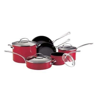 kitchenaid artisan red kitchenaid gourmet reserved 10 piece porcelain cookware set red. Black Bedroom Furniture Sets. Home Design Ideas