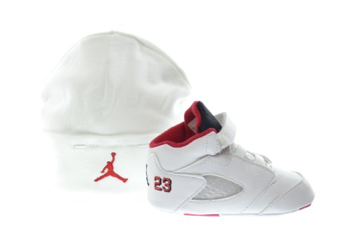 Jordan 5 Retro (GP) Infants Shoes Gift Pack White/Fire Red-Black 552494-120 (3 M US)