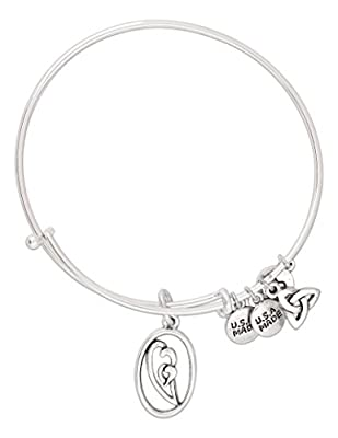 Born in Your Heart Adjustable Bangle Bracelet with Charms