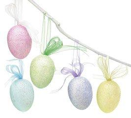 Assorted Glitter Foam Easter Egg Ornaments + Ribbon