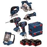 BOSCH LBOXX6KIT 6 Piece Combo Kit GSB18V-LI, GDR18V-LI, GST18V-LI, GWS18V-LI, GKS18V-LI and GLI VariLED