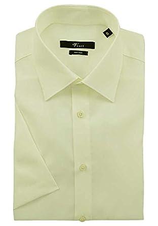 VENTI Hemd Tailliert Kurzarm Creme Kent Kragen 100% feinste Baumwolle 38