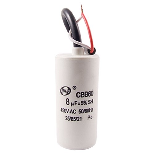 Cbb60 Ac 450V 8Uf 5% 50/60Hz Washing Machine Motor Run Capacitor W Wire Lead