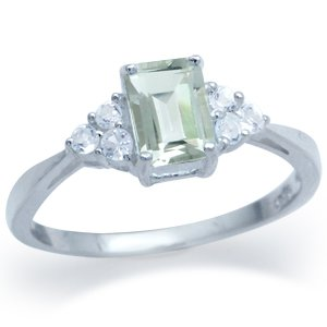 1.09ct. Natural Green Amethyst & White Topaz 925 Silver Engagement Ring Size 9