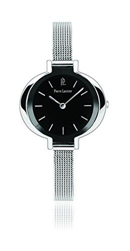 Pierre Lannier 002F638 Week-End linea pura-Orologio da donna con cinturino Quadrante nero e acciaio, colore: argento