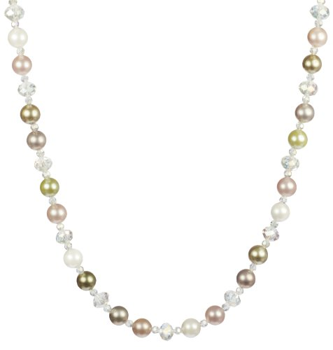 Crystal Glass Beads and Multi-Color Shell Accents Necklace 24