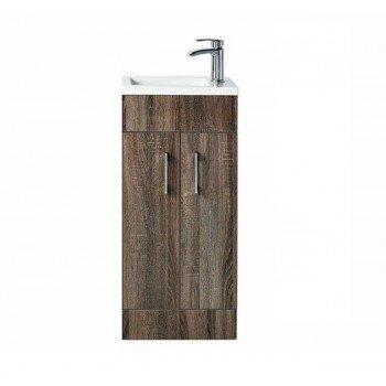 Bathroom Compact Vanity Unit LOMOND Floor Standing TRUFFLE OAK 400mm