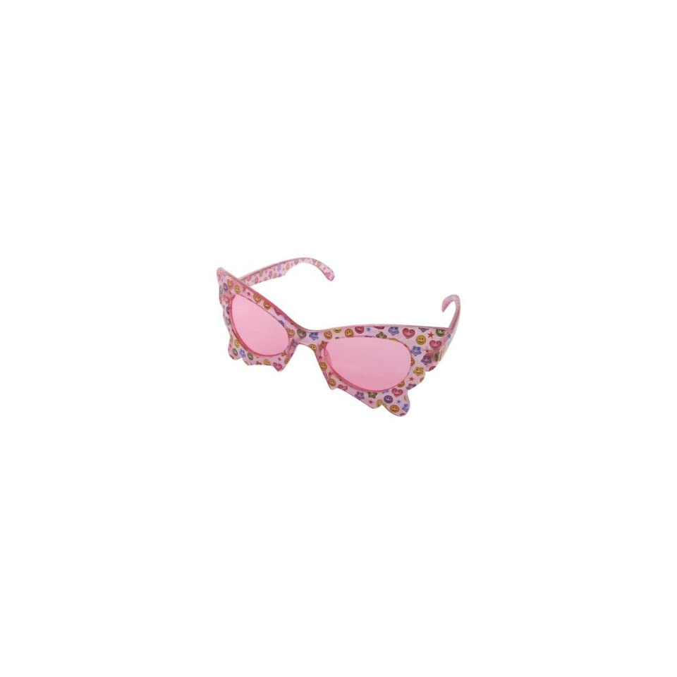 Como Butterfly Style Tinted Lens Clear Pink Girls Sunglasses