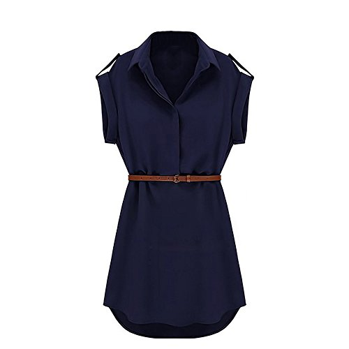 Cocobla Cap Sleeve Stretch Ol Belt Chiffon Casual Shirt Mini Dress (M, Navy Blue)