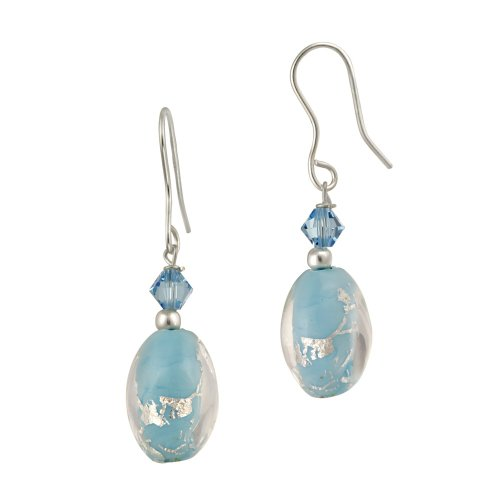 Sterling Silver Multi-Blue Hand Blown Glass Oval Bead and Crystal French Wire Earrings