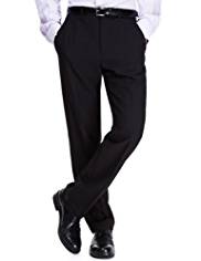 Big & Tall Crease Resistant Flat Front Plain Trousers