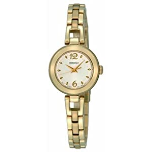 Seiko Ladies Silver Dial Goldtone Stainless Steel Watch - SXGN80P1