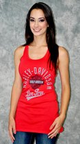 Harley-Davidson® Womens Live Free Twist-back Red Tank (Medium)