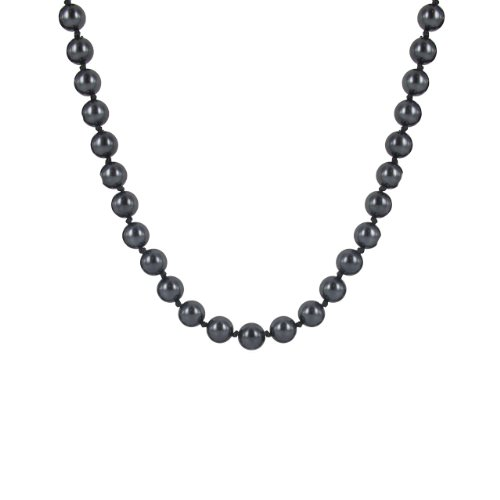 Dark Grey 8mm Simulated Pearl Strand Necklace, 17.5+2