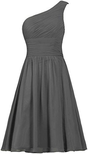 ANTS Women's Chiffon One Shoulder Bridesmaid Dresses Short Evening Dress Size 8 US Grey