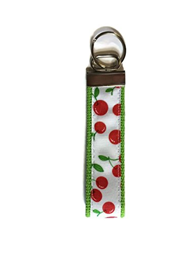 Tickled Pink Boutique Cherry Cherries Wristlet Keychain Fob White Wristlet Cherry